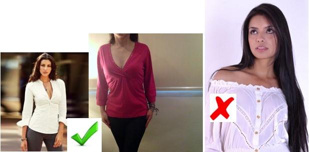 blusas cuello en v triangulo invertido